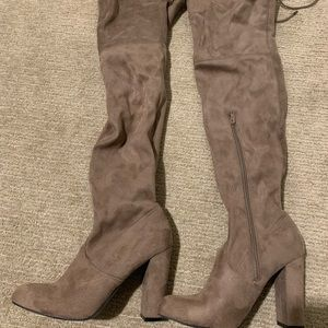 Grey over-the-knee heeled boots - a new day